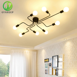 Image 3 - OYGROUP Vintage Ceiling Lights For Home Lighting Luminaire Multiple Rod Wrought Iron Ceiling Lamp E27 Bulb Living Room#CL06/CL08