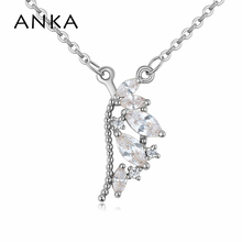 ANKA luxury angle wings rose gold-color pendant feather necklace fashion girl women jewelry zircon CZ luck necklace gift 125622 anka luxury rose gold color flower necklace for women top zircon cz pendant necklace fashion jewelry accessories gift 125251