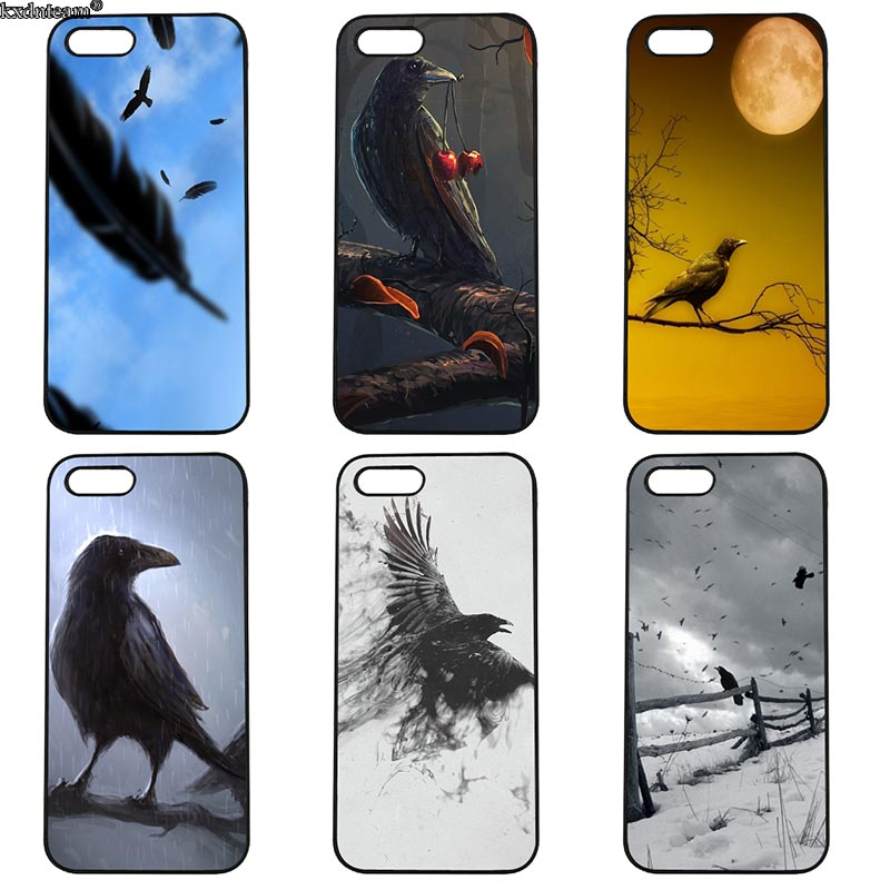 Animal Bird Black Crow Half Wrapped Phone Case Hard PC Cover Fitted for iphone 8 7 6 6S Plus X 5S 5C 5 SE 4 4S iPod Touch 4 5 6