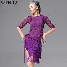 ONTFIHS Latin Dance Dress  Dance Costumes Lace Women Latin Dress Women Tassel Elegant Sexy Tango Dress