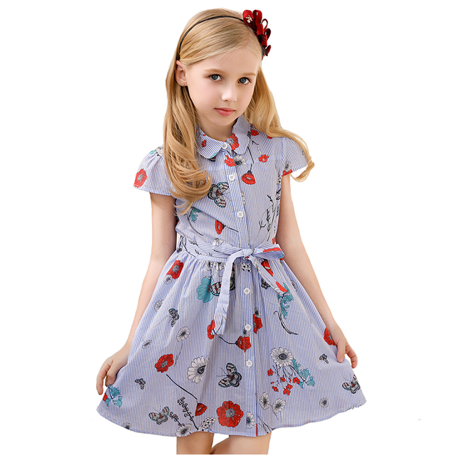 289344bdaac4 CANDYDOLL Summer Baby Girls Dress 100% Cotton Striped for Children Print  Costume Belt Princess Clothing European Style 3y-8y