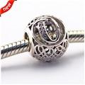 Serve para pandora pulseira encantos grânulos de prata letra do alfabeto q 100% 925 sterling silver charm jóias diy atacado le27015-q