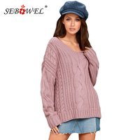 SEBOWEL Casual Women Pullover Sweater Autumn Winter 2018 V Neck Knitted Oversize Sweater Tops Jumper Pull Femme 100%Acrylic