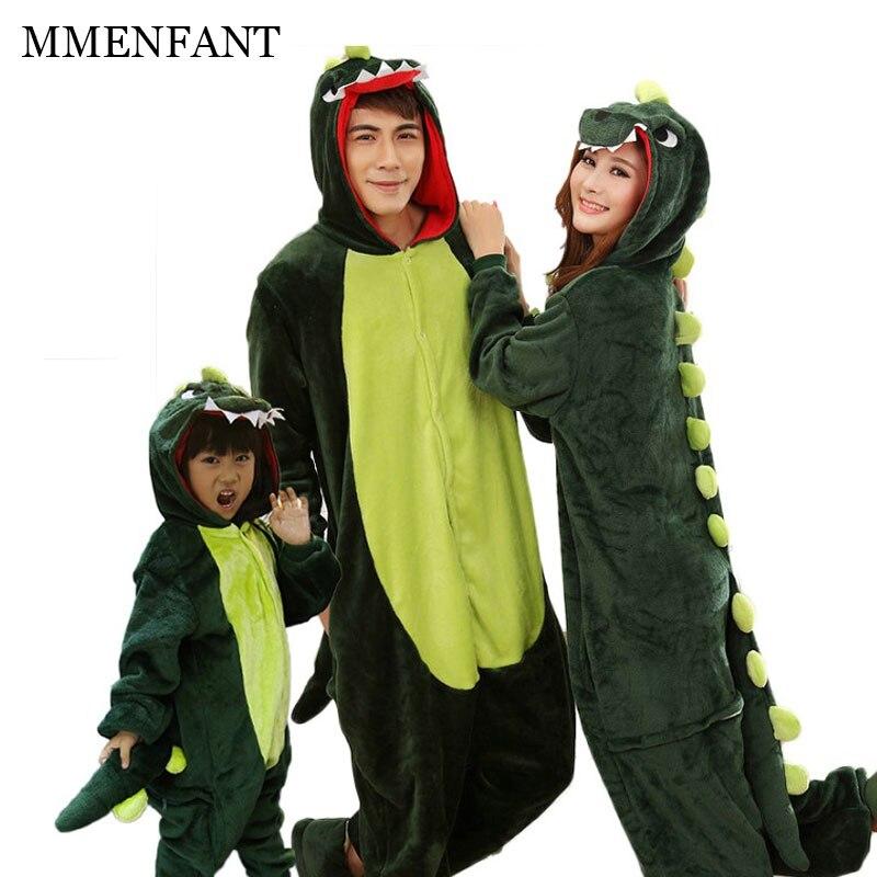 Животного пижамы пару Семья подходящая Одежда для взрослых комбинезон одежда для матери и дочери Тоторо динозавр Единорог Пижама женская ...