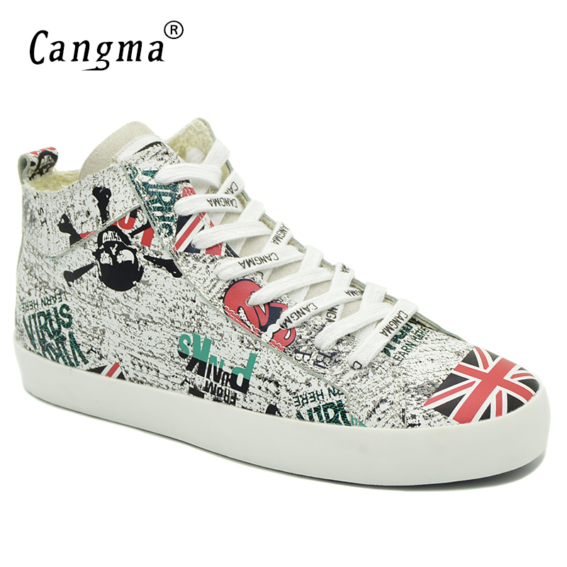 CANGMA Designer Brand Sneakers Women Autumn British Flag Female Genuine Leather Shoes Woman's Printing Shoes Mid White Flats cangma original newest woman s shoes mid fashion autumn brown genuine leather sneakers women deluxe casual shoes lady flats