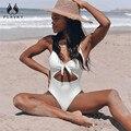 Сексуальный ретро купальник в горошек с узлом спереди  трикини с вырезами и высокой талией  монокини  пуш-ап  Женский цельный купальник