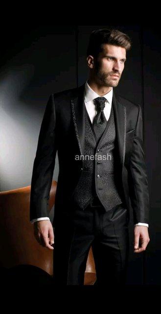 Nach maß männer glänzende seide schwarz smoking Partei kleid ...