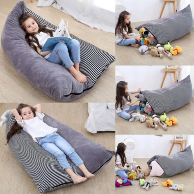 XXL toy storage bag Storage Stuffed Animal Toys Bean Bag Chair Canvas Portable Kids Clothes Toy Bags Organizer