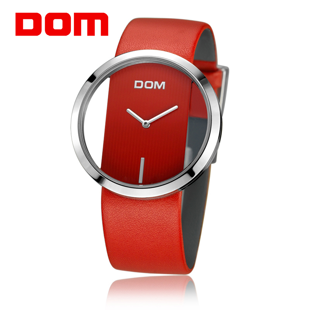 DOM  Brand Watch Women Luxury Fashion Casual Quartz Unique Stylish Hollow Skeleton Watches Leather Sport Lady Wristwatches
