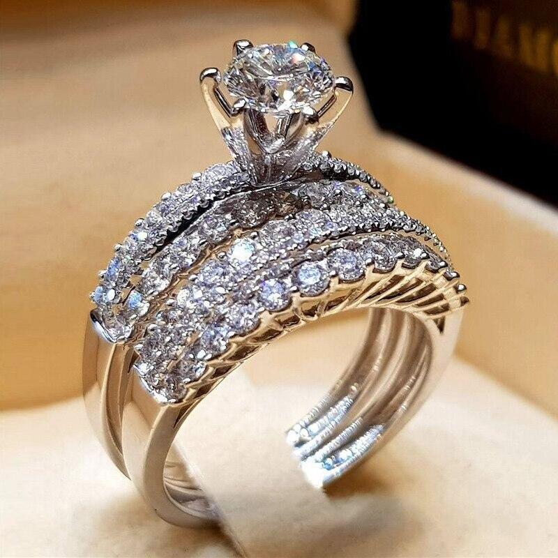 Hochzeits- & Verlobungs-schmuck Sanft Utimtree Luxus 2 Teile/los Silber Engagement Ringe Set Für Frau Zirkonia Ring Für Damen Liebhaber Party Hochzeit Schmuck Geschenke