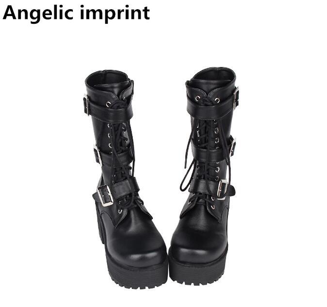 Ayakk.'ten Diz Altı Çizmeler'de Melek baskı mori kız Kadın motosiklet ayakkabı bayan yüksek topuklu lolita serseri çizmeler kadın prenses elbise pompaları tokaları 35  40 8 cm'da  Grup 1