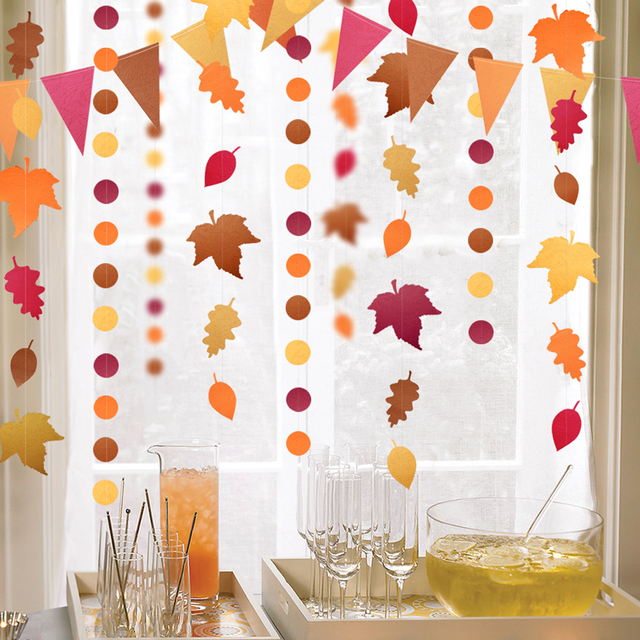 4Meter Red Orange Yellow Autumn theme Leaves Garlands Dots Paper Banner Flags For Thanksgiving Wedding Party Decoration