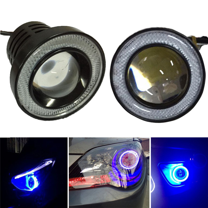 2.5 Car Fog Light COB LED Projector Blue Halo Ring DRL Driving Bulbs   Drop Shipping  P30 August 5 2pcs 2 5 car angel eye cob ice blue halo ring led drl projector fog driving light