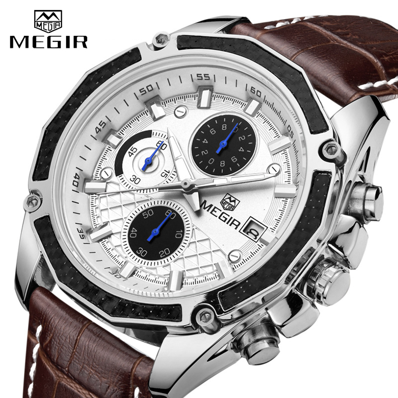 <font><b>MEGIR</b></font> Watch Business Quartz Men Watches Military Waterproof Leather Sport Wristwatch Chronograph Male Clock Relogio Masculino image