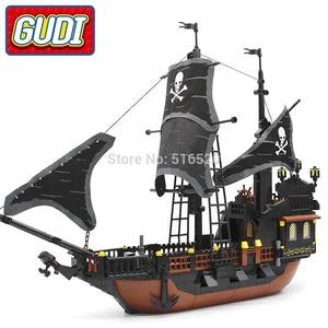 Image 2 - 870 + шт., Детский конструктор «пиратский корабль»