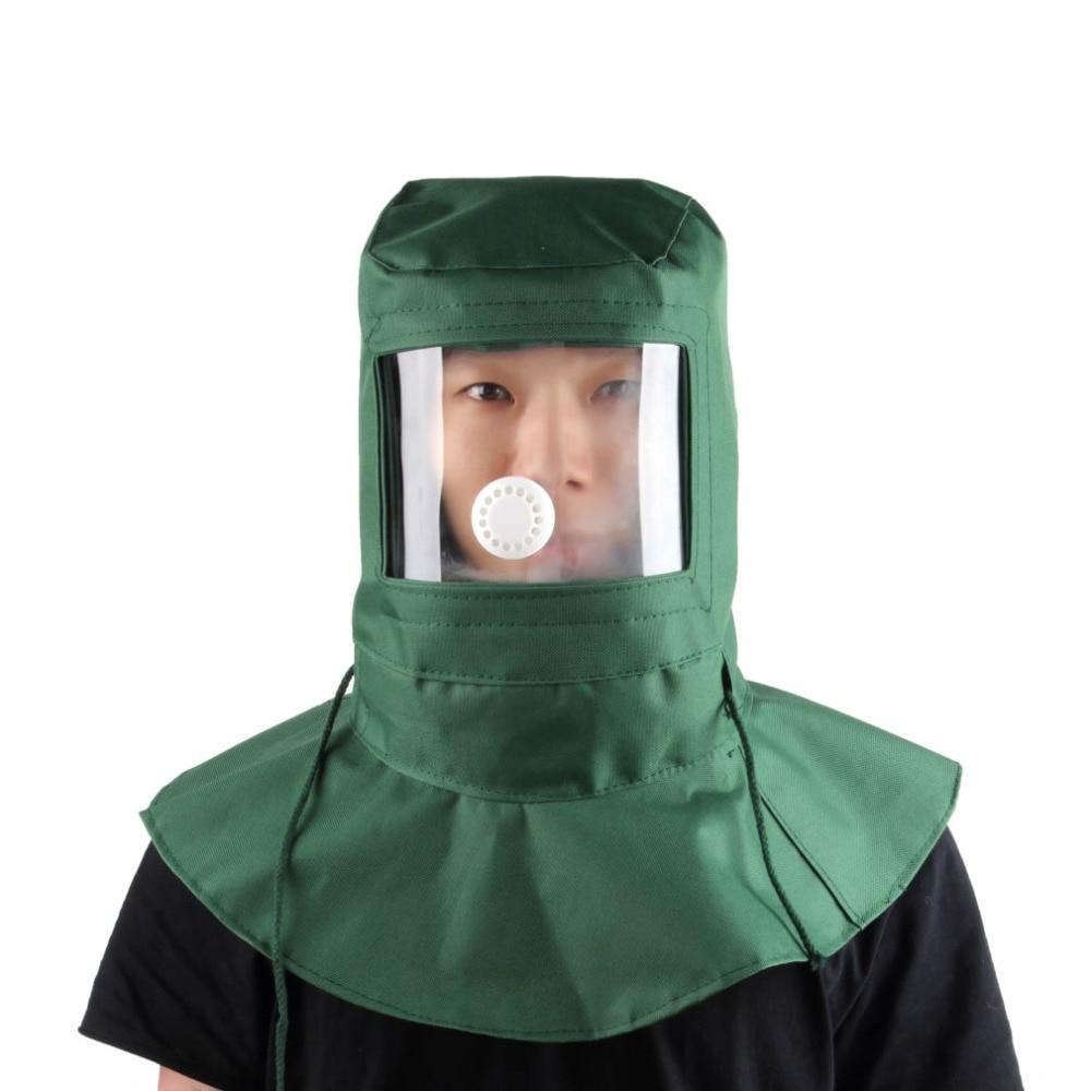 Painting Protective Mask Dustproof Hood Sandblasting Protective Cap Industrial Grinding Labor Helmet Canvas Material Green