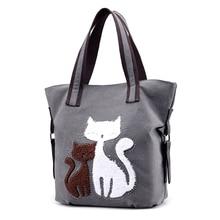 Для женщин Симпатичные Сумки кошка едят рыбу печати Для женщин Повседневное сумка Сумки на плечо для леди