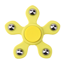 Yellow Fidget Spinner Five Beads Plastic EDC Hand Spinner Anti Stress Reliever Decompression Toy for ADAD