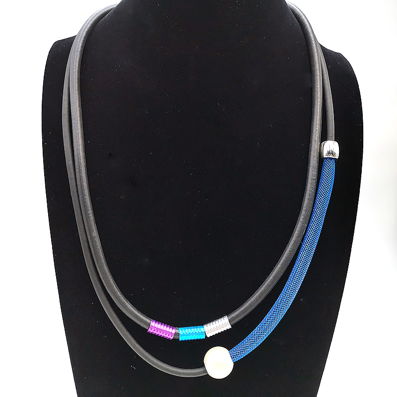 YD&YDBZ NEW Young Women Fashion Choker Necklace Blue Lace Pipe Fake Pearl Pendant Trendy Color Aluminum Tube Necklaces