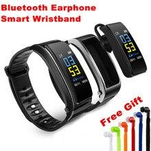 Fone de Ouvido Bluetooth Conversa Inteligente Pulseira Sports heart rate monitor de Resposta e Dail Chamadas ouça música de Fitness Rastreador Pulseira