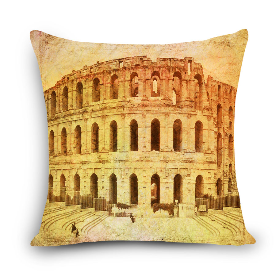 Italian Roman style London Home Decorative Sofa Cushion Cover Throw Pillow Case Vintage Cotton Linen Square Cute 45*45cm MYJ-C6