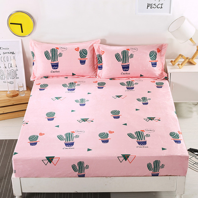 Pink+Green Lovely Cactus Pattern Warm Fitted Sheet With An Elastic Band Bed  Sheets Linen