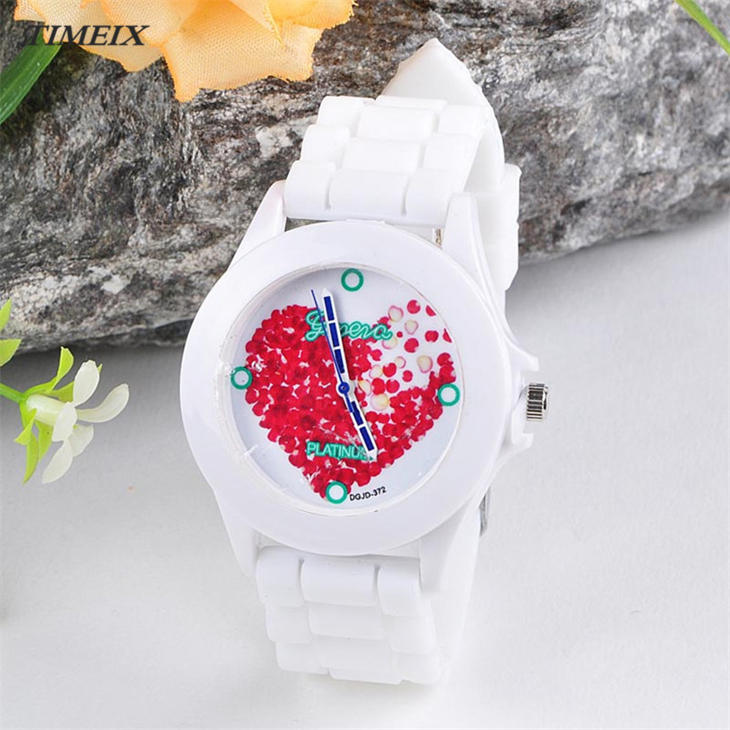 TIMEIX Fashion Women Silicone Jelly Red Heart petals Quartz Analog Sports Wrist Watch High Quality Free Shipping,Nov 18