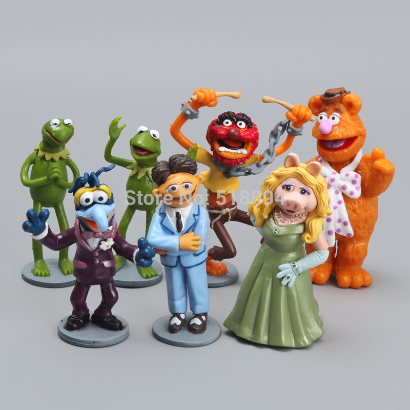 Free Shipping Anime Cartoon The Muppets PVC Action Figure Model Toys Dolls 7pcs/set Christmas Gift Child Toys DSFG117 6pcs set disney trolls dolls action figures toys popular anime cartoon the good luck trolls dolls pvc toys for children gift