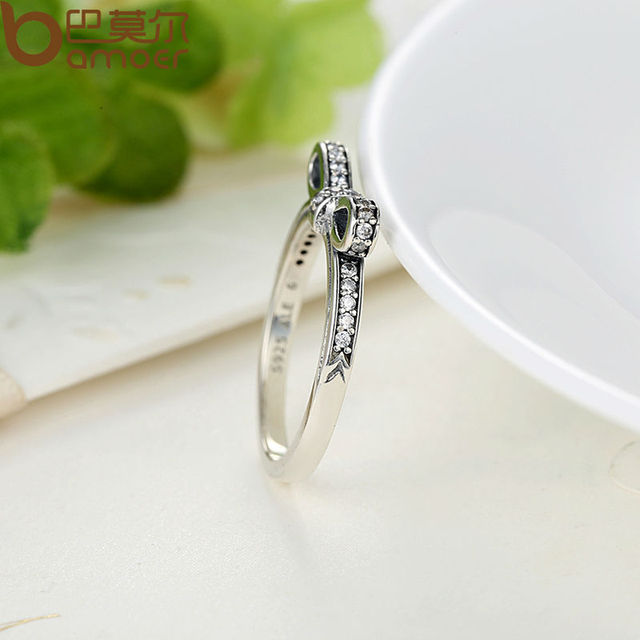 925 Sterling Silver Sparkling Bow Knot Micro Zircon Paved Ring