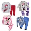 Minnie Mouse Pijamas Meninos Meninas Pijamas Crianças Dos Desenhos Animados Pijamas de Algodão Pjamas Conjuntos de Roupas crianças veste Para 2 3 4 5 6 7 anos
