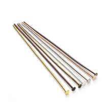 200pcs/bag 40 50 mm Flat Head Pins Dia 0.7mm Gold/Silver/Rhodium/Copper/Bronze Head Pins For Jewelry Making Accessories F118(China)
