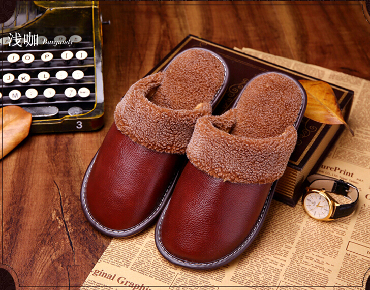 8f81e83d4f0 DIJIGIRLS Plus Size 35-44 Genuine Leather Men Slippers Summer Home Slippers  High Quality Men Shoes Non-Slip ...