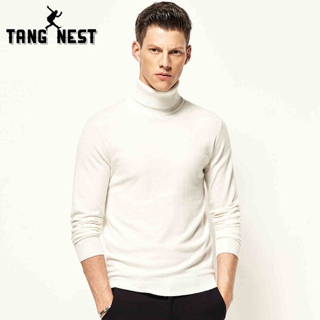 TANGNEST 2017 Solid Color Turtleneck Men's Sweater Slim Fit Warm Soft Male Autumn & Winter High Quality Polovers MZM502
