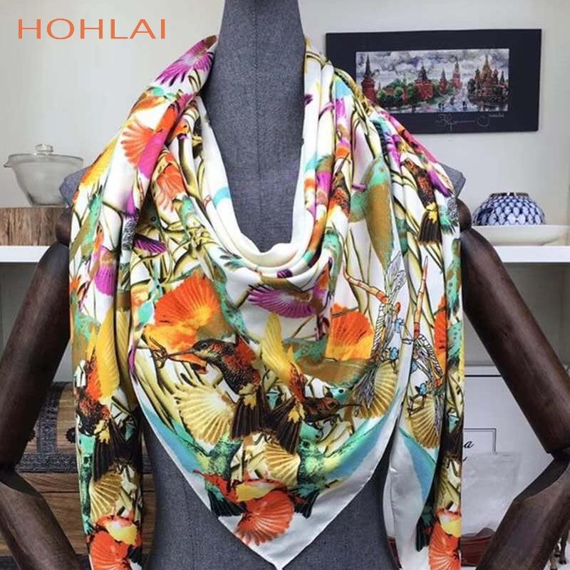 New 130*130 CM Luxury Brand 100%Twill Silk Woman Scarf Square Scarves bird paying homage to the phoenix Silk Scarf Wraps Hijab