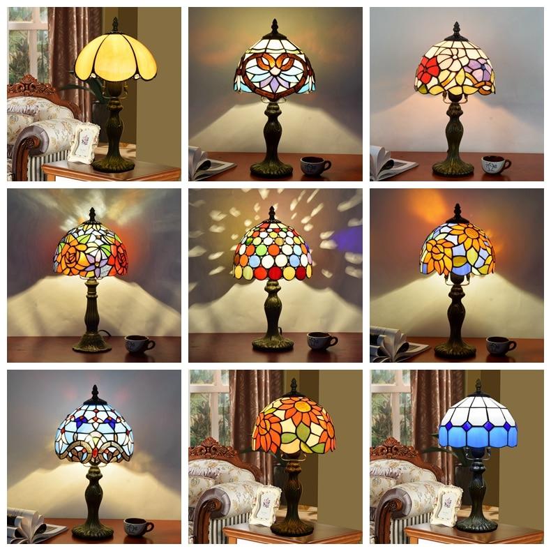 Tiffany Table Lamp Stained Glass European Baroque Classic for Living Room E27 110-240VTiffany Table Lamp Stained Glass European Baroque Classic for Living Room E27 110-240V