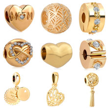 European gold hollow out heart mom family tree clip metal Bead Charms Fit Pandora Bracelets & Bangles Necklace DIY Jewelry EL052(China)