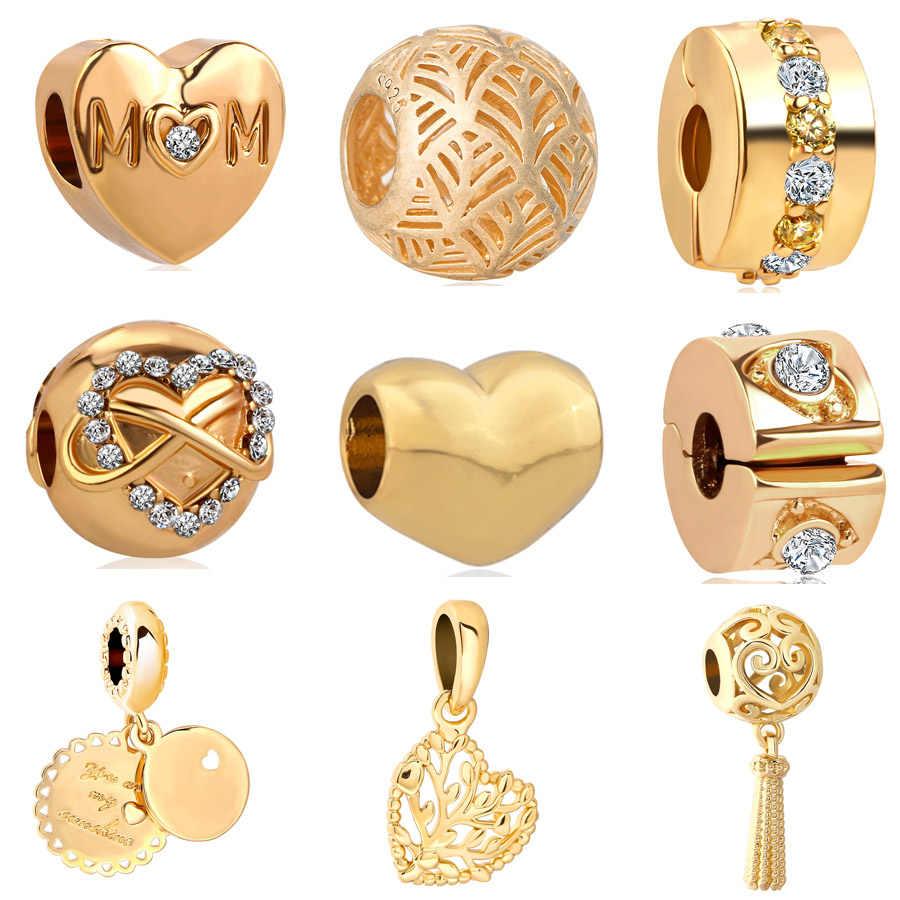 Europejski złoty hollow out serce mama drzewo genealogiczne klip metalowy koralik Charms Fit Pandora bransoletki i Bangles naszyjnik DIY biżuteria EL052
