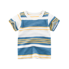 2019 New 100% Cotton Hit Color Striped Baby Boy T Shirt Summer Casual Short-sleeved Children Tops O-neck Kid Clothes 18M-7T