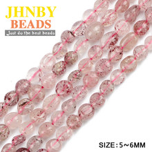 JHNBY Strawberry crystal Irregular oval Gravel Chip beads Smooth Natural Stone Jewelry bracelet making DIY Accessories Wholesale()