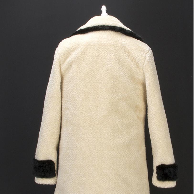 De Hiver Patchwork Turn Fourrure Manteau Tonte Faux down Grande Femmes Beige Outwear Taille Col Imitation L1615 Vison Des Moutons Longue B1wSqRpn1