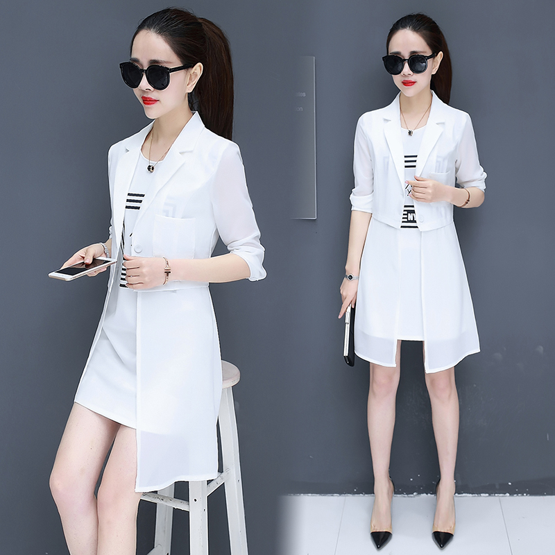 c3e71d39f korean fashion new chiffon mini tank dress and long top blazer two pcs lady  office girl suit dress design clothes summer -in Dresses from Women's  Clothing ...