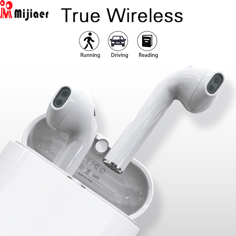 Mijiaer T7 Wireless Headphone Mini TWS Bluetooth Earphone for iPhone with Charging Box Stereo Sport with Mic Earbuds Hifi vtin sport mini style bluetooth earphone mini wireless bluetooth 4 1 with edr headphone portable business earphone w mic