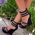 shofoo shoes.2016 stylish new free mail, black leather, chain decoration, sandals stiletto sand ,wedges sandals, women's shoes.