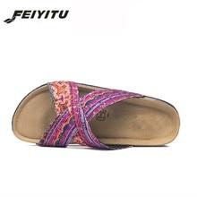 FeiYiTu New Fashion Summer Lady Flats Cork Slipper Women Casual Beach Slip On Slides Shoe Flat with Plus Size 35-43 black white