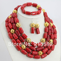 Charming African Costume Jewelry Set 4 Rows Red Coral Beads Bridal Jewelry Sets Coral Necklace Set Free Shipping CJ071