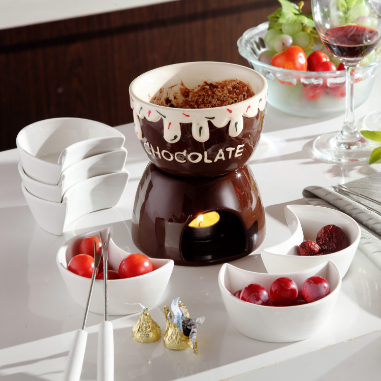 Coffee ice cream pot chocolate fondue set cheese hot pot ceramic ice cream furnace with fork and candle cooking ware