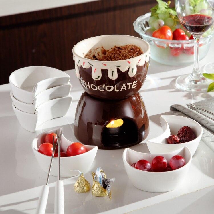 Gelato al caffè pentola fonduta di cioccolato formaggio piatto caldo fornace di ceramica del gelato con la forcella e candela cucina ware