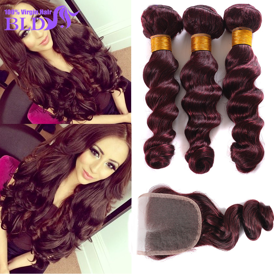 2016 New Style 99J  Peruvian Loose Wave With Closure 99j  Virgin Hair With Closure Wine Red Human Hair 4 Pcs Lot