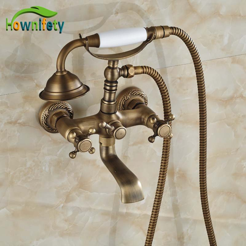 ᐃLuxury Antique Brass Bath tub Faucet Wall Mounted Double Handles ...