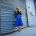 Top Fashion Saia Midi Saia Com Bolso Azul Marinho de Cetim Impressionante saias Midi Chique Saia Primavera e No Outono Saia de Cetim Custom Made